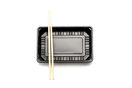 plastic food container with chopstick isolated on white background