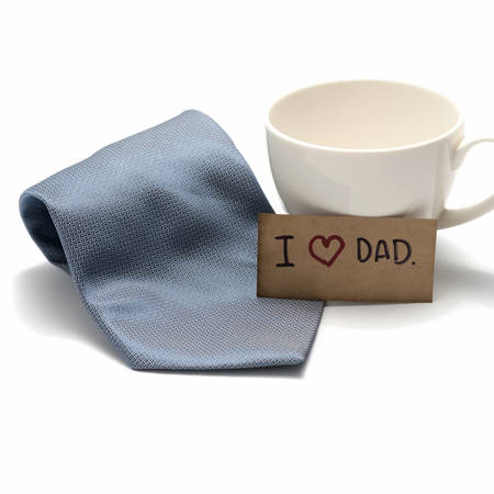 I love dad card with tie and coffee cup isolated on white background