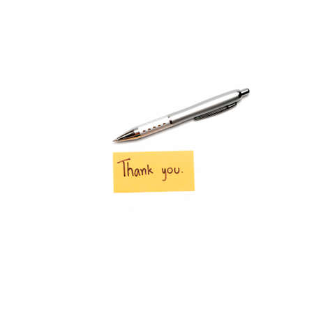 Thank you card with pen isolated on white background Stock Photo