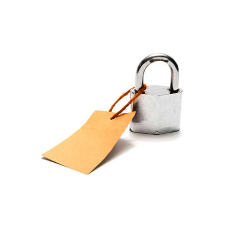 dangerous love: padlock and tag isolated on white background Stock Photo