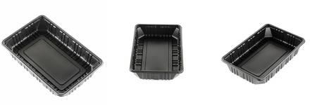 plastik: black plastic tray on a white background