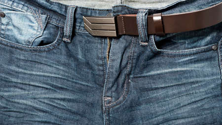 jean pant with leather belt photo