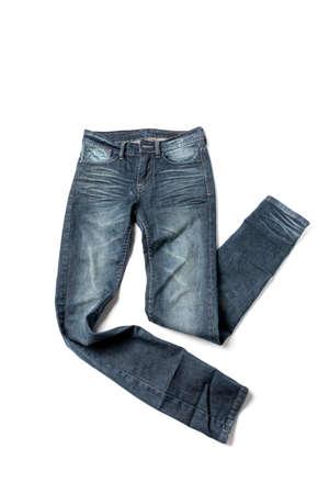 de vaqueros: pantalones de mezclilla aislados en fondo blanco Foto de archivo