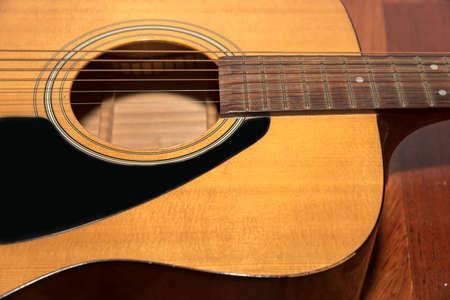nylon string: still life close up part of guitar Stock Photo
