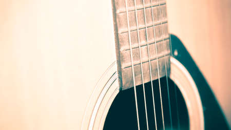 nylon string: still life close up part of guitar vintage style Stock Photo