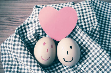 brown egg: smile love egg couple in brown kitchen towel on wood table vintage style
