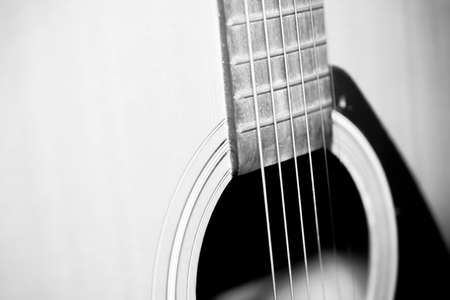 nylon string: still life close up part of guitar black and white color tone style