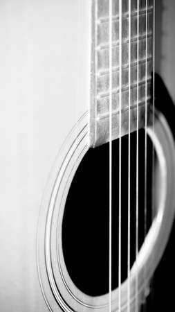 professional flute: still life close up part of guitar black and white color tone style