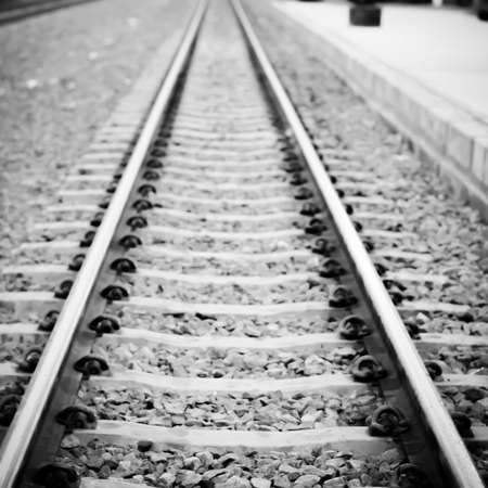 railway points: railway on country road in Thailand black and white color tone style