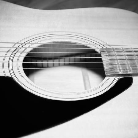 boehm: still life close up part of guitar black and white color tone style
