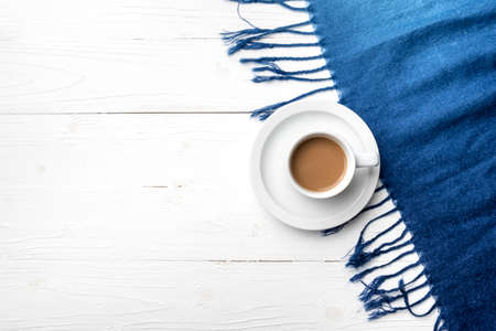 scarf: coffee and scarf background on white table