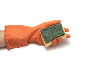 hand in cleaning glove and sponge isolated on white background Stock Photo