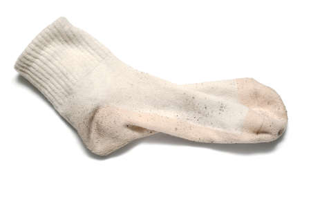 white wash: dirty sock on a white background