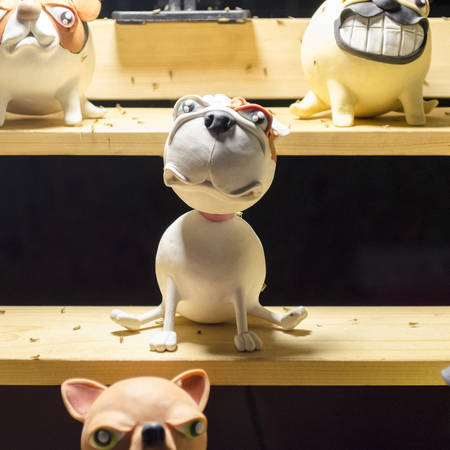 Decorative puppydog. Childrens rooms, interior, garden decor. Ceramic statue