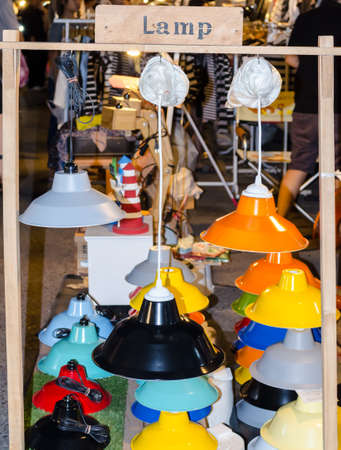 domestic garage: BANGKOK,THAILAND - 2 FEBRUARY 2017 : Selling classic vintage lamp at Jatujak Green night market