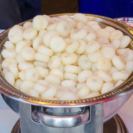 waternut prepare for Thai desert food.