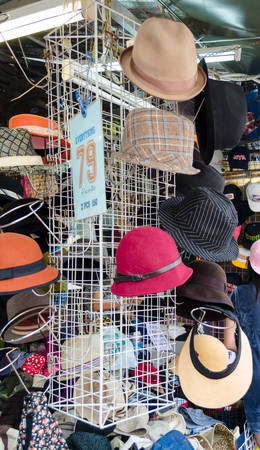 BANGKOK,THAILAND - 19 FEBRUARY 2017 : Shop selling hat at Jatujak weekend market. Editorial