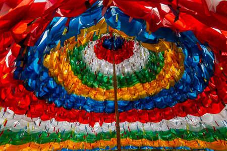 Mantra Stupa Made of prayer flags colorful Reklamní fotografie