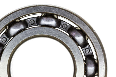 mechanical engineering: Macro steel ball bearing  isolated on white background