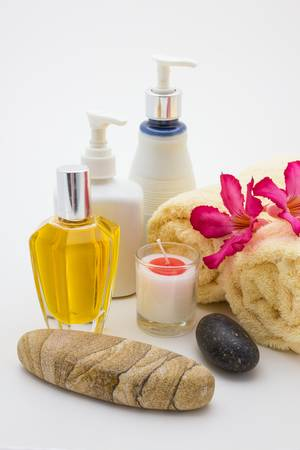 Close up view of spa theme objects on the white background photo