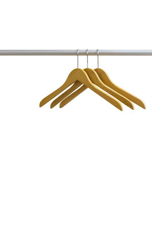 Wood coat hanger in towel rail isolated on the white background  photo