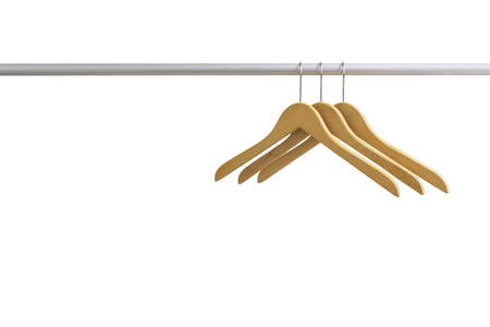 Wood coat hanger in towel rail isolated on the white background