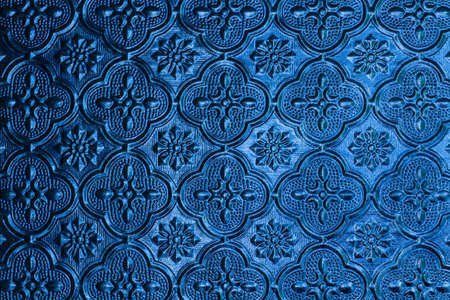 Pattern blue window glass background in Thai style house  photo