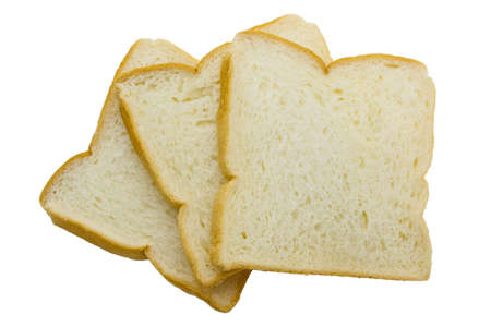 Close-up image of slice of white bread against the white background photo