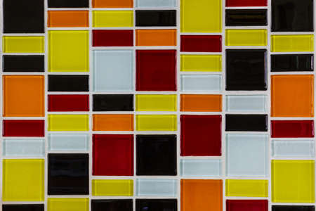Colorful glass mosaic in the kitchen wall photo
