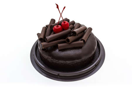 Chocolate cake isolated on white background. Fresh chocolate cake photo