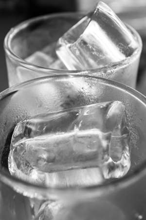 insipid: Close up ice in glass of ice.