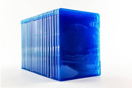 Set van Blu Ray disc dozen op een witte achtergrond Stockfoto