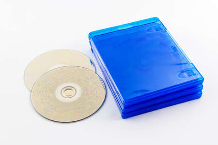 Blu Ray disc boxes and Blu Ray Disc  isolated on white background  photo