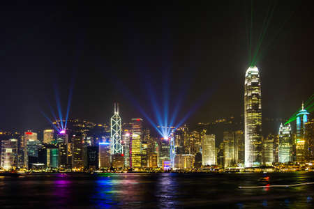 Stunning Light show in Victoria Harbour Hong Kong
