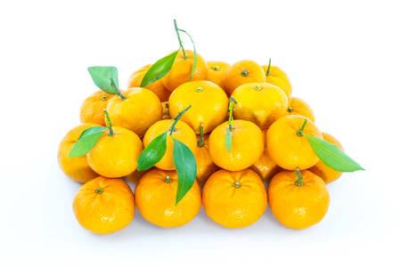 Sweet orange fruit with leaves on white background. photo