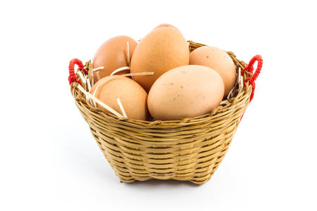 Eggs in the package isolated on white background. Stock Photo