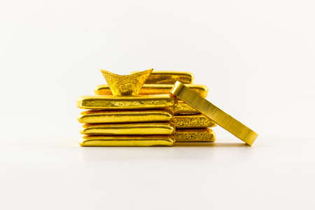 Gold bar isolated on the white background. photo