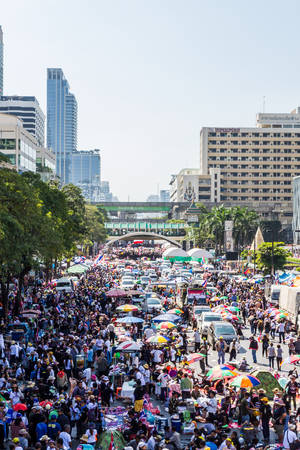 undemocratic: Bangkok,Thailand - 13 January 2014: Thailands protest people against the government corruption at Ratchaprasong Intersection in Bangkok,Thailand.