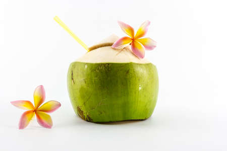 Coconut water drink isolated on white background. photo