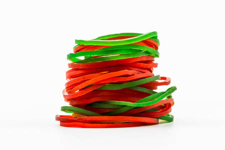 Group of elastic bands on a white background  photo