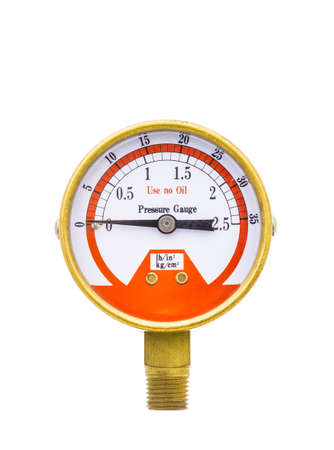 Pressure gauge measuring instrument of pressure in the pipeline isolated on white background  photo