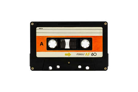 Closeup cassette tape isolate on white background photo