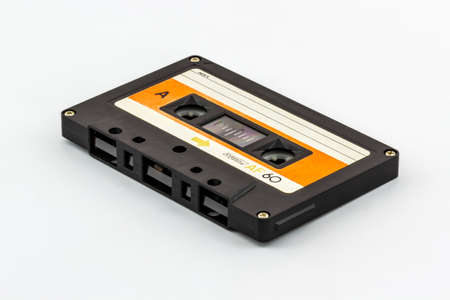 Closeup cassette tape isolate on white background.
