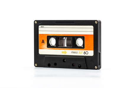disuse: Closeup cassette tape isolate on white background.