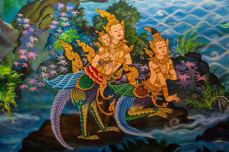 Ancient Thai-style murals in the thai temple,Thailand