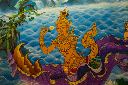 Ancient Thai-style murals in the thai temple,Thailand