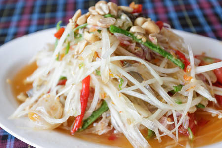 Thai papaya spicy salad with crab, Som Tum,Thailand. photo
