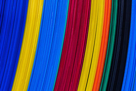 Texture of color corrugated plastic sheets, feature board. photo