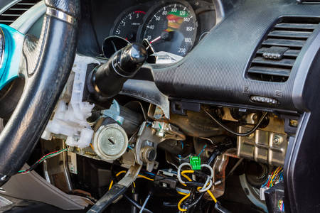 Closeup car electric repair, Repair of electrical wiring in the car