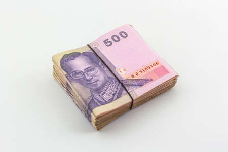 Thai Baht currency with bank note on white background,Thai money.